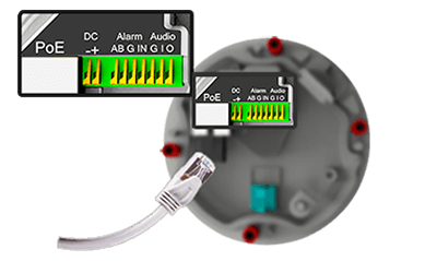 H.265+対応 4K(8MP)屋外防雨ネットワークカメラ(RK-830AE1)ケーブル接続インターフェイス