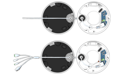 H.265+ビデオ圧縮技術に対応した屋外5メガピクセルネットワークドーム型カメラ(RK-520CE)は接続ケーブルが統合されています。