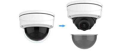 H.265+ビデオ圧縮技術に対応した屋外5メガピクセルネットワークドーム型カメラ(RK-520CE)はスモークドームカバーをオプションで提供しています。