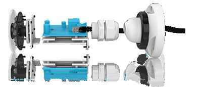 H.265+対応、屋外防雨5MP PoEネットワークカメラ(RK-520FE)は、PoEモジュールを搭載しています。