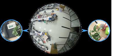 12MP(1200万画素)全方位 360°ネットワークカメラ(RK-1218HE)は、1200万画素の高解像度を実現