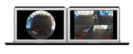 12MP(1200万画素)全方位 360°ネットワークカメラ(RK-1218HE)は、優れた歪み補正機能を搭載しています。