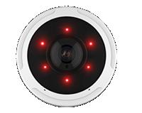12MP(1200万画素)全方位 360°ネットワークカメラ(RK-1218HE)は、近赤外照明機能を搭載し夜間でも撮影可能