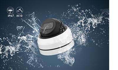 5MP 屋外 IR 小型ドーム型PoEネットワークカメラ(RK-520NEA)は、IP67/IK10の耐候性と耐衝撃に対応しています。