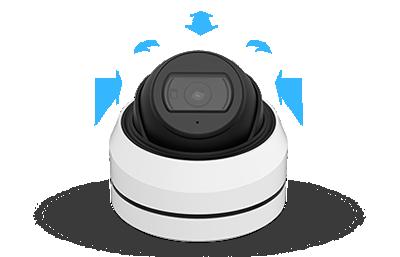 5MP 屋外 IR 小型ドーム型PoEネットワークカメラ(RK-520NEA)3軸可動方式