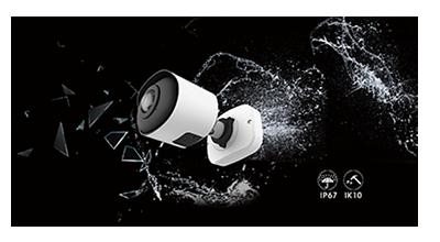 5MP パノラマネットワークカメラ(RK-530PM)は、屋外防雨IP67と耐衝撃IK10に対応。