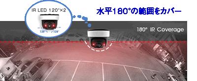 パノラマドーム型ネットワークカメラは、180°のIR LED機能