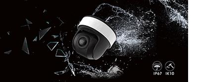 パノラマドーム型ネットワークカメラは、屋外防雨IP67と耐衝撃IK10に対応。